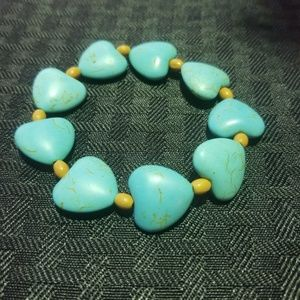 Turquoise and Wood Bracelet
